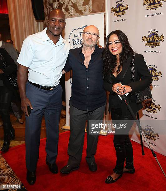 Evander Holyfield Phil Collins and Orianne Cevey attend Press Conference for the Little Dreams Foundation at Seminole Hard Rock Hotel Casino Hard...