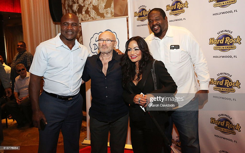 Evander Holyfield, Phil Collins, Orianne Ceveym, and Riddick Bowe attend Press Conference for the Little Dreams Foundation at Seminole Hard Rock Hotel & Casino - Hard Rock Cafe Hollywood on March 4, 2016 in Hollywood, Florida.