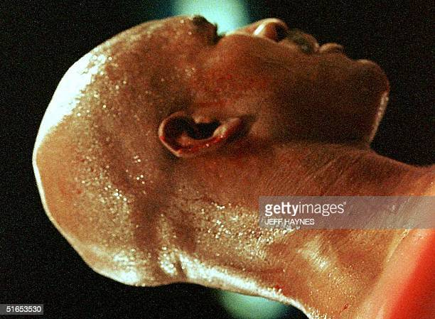 Evander Holyfield stands in the ring after Mike Tyson bit his ear 28 June during his WBA heavyweight championship fight against Mike Tyson at the MGM...