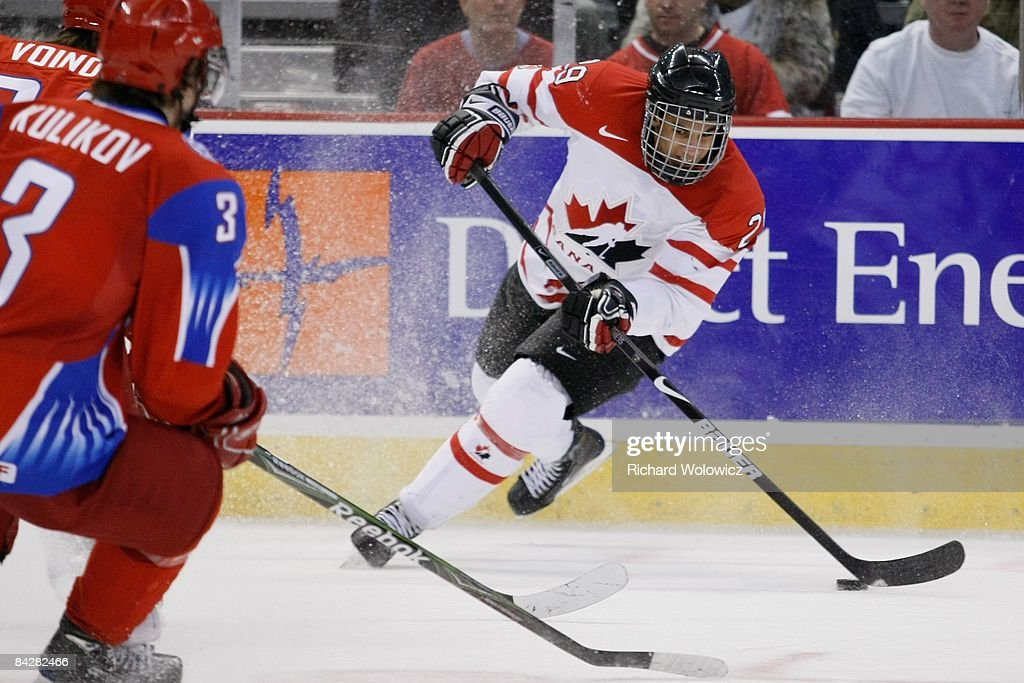 Evander Kane #29 of Team Canada stops with the puck during the game against Team Russia at the semifinals at the IIHF World Junior Championships at Scotiabank Place on January 03, 2009 in Ottawa, Ontario, Canada.