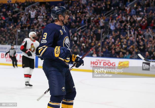 Evander Kane of the Buffalo Sabres celebrates after scoring a goal on the Ottawa Senators during the second period at the KeyBank Center on December...