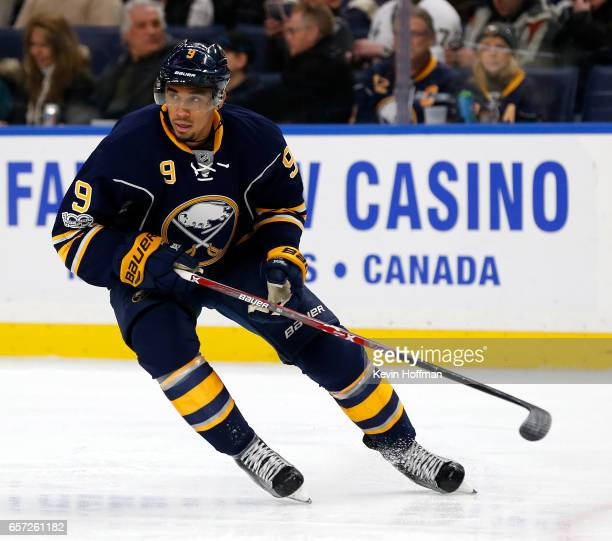 Evander Kane of the Buffalo Sabres during the game against the Pittsburgh Penguins at the KeyBank Center on March 21 2017 in Buffalo New York Evander...