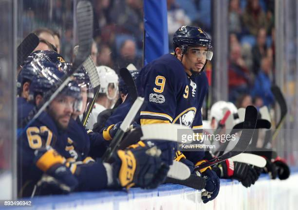 Evander Kane of the Buffalo Sabres during the game against the Ottawa Senators at the KeyBank Center on December 12 2017 in Buffalo New York