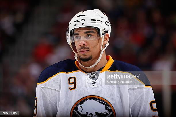 Evander Kane of the Buffalo Sabres during the NHL game against the Arizona Coyotes at Gila River Arena on January 18 2016 in Glendale Arizona The...