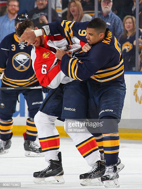 Evander Kane of the Buffalo Sabres has a third period fight against Alex Petrovic of the Florida Panthers during an NHL game on February 9 2016 at...