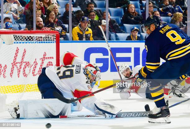 Evander Kane of the Buffalo Sabres looks for a rebound from Harri Sateri of the Florida Panthers during the second period of an NHL game on February...