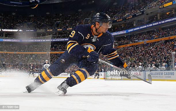 Evander Kane of the Buffalo Sabres skates against the Winnipeg Jets on March 26 2016 at the First Niagara Center in Buffalo New York