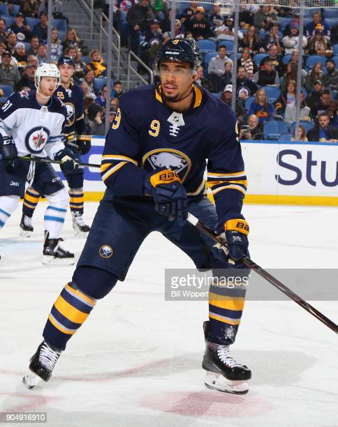 Evander Kane of the Buffalo Sabres skates against the Winnipeg Jets during an NHL game on January 9 2018 at KeyBank Center in Buffalo New York