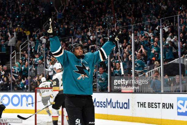 Evander Kane of the San Jose Sharks celebrates a goal against the Vegas Golden Knights in Game One of the Western Conference First Round during the...