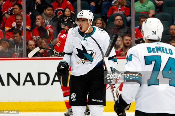 Evander Kane of the San Jose Sharks celebrates a goal against the Calgary Flames during an NHL game on March 16 2018 at the Scotiabank Saddledome in...