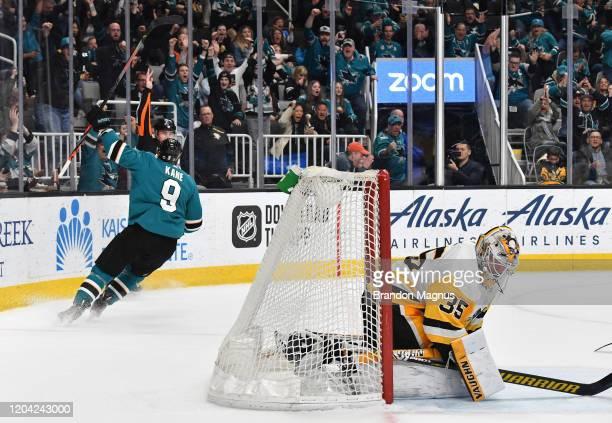 Evander Kane of the San Jose Sharks celebrates after scoring against Tristan Jarry of the Pittsburgh Penguins at SAP Center on February 29 2020 in...