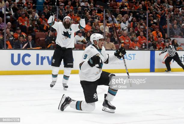 Evander Kane of the San Jose Sharks celebrates his first goal of the second period against the Anaheim Ducks in Game One of the Western Conference...