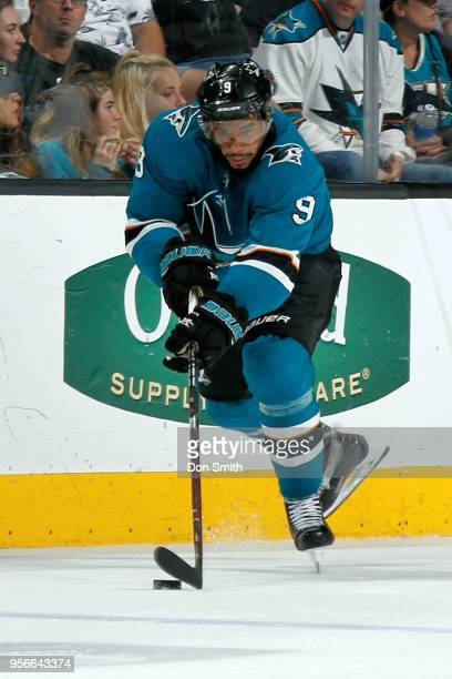 Evander Kane of the San Jose Sharks controls the puck in Game Six of the Western Conference Second Round against the Vegas Golden Knights during the...