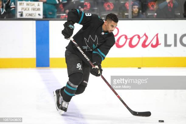 Evander Kane of the San Jose Sharks during warmups before the game against the Philadelphia Flyers at SAP Center on November 3, 2018 in San Jose,...