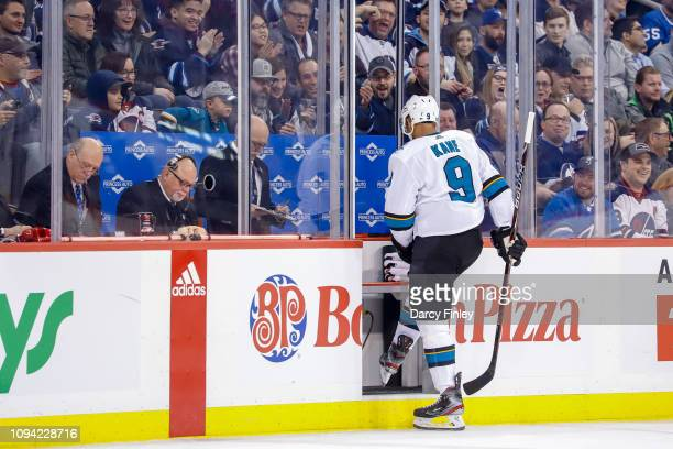 Evander Kane of the San Jose Sharks heads into the penalty box after receiving a second period minor against the Winnipeg Jets at the Bell MTS Place...