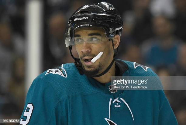 Evander Kane of the San Jose Sharks looks on against the Anaheim Ducks during the third period in Game Four of the Western Conference First Round...