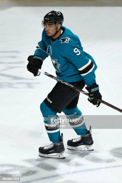 Evander Kane of the San Jose Sharks looks on during a NHL game against the Washington Capitols at SAP Center on March 10 2018 in San Jose California