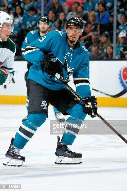 Evander Kane of the San Jose Sharks looks on during a NHL game against the Minnesota Wild at SAP Center on April 7 2018 in San Jose California...