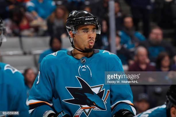 Evander Kane of the San Jose Sharks looks on during the game against the Detroit Red Wings at SAP Center on March 12 2018 in San Jose California