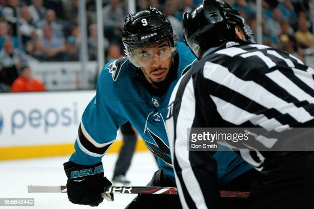 Evander Kane of the San Jose Sharks looks on in Game Six of the Western Conference Second Round against the Vegas Golden Knights during the 2018 NHL...
