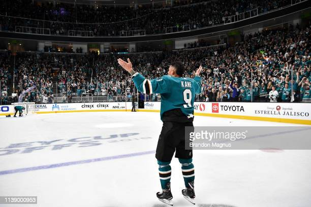 Evander Kane of the San Jose Sharks salutes the crowd after the win against the Vegas Golden Knights in Game Seven of the Western Conference First...