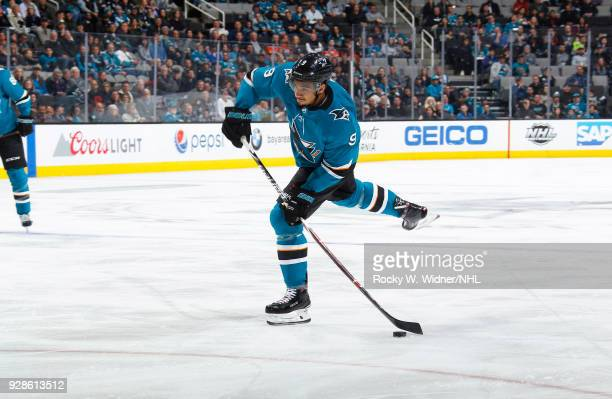 Evander Kane of the San Jose Sharks shoots the puck against the Edmonton Oilers at SAP Center on February 27 2018 in San Jose California