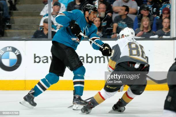 Evander Kane of the San Jose Sharks skates against Nate Schmidt of the Vegas Golden Knights in Game Six of the Western Conference Second Round during...