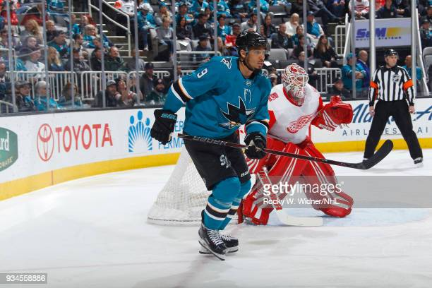 Evander Kane of the San Jose Sharks skates against the Detroit Red Wings at SAP Center on March 12 2018 in San Jose California