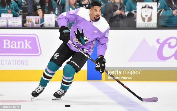 Evander Kane of the San Jose Sharks skates during warmups against the St Louis Blues at SAP Center on November 17 2018 in San Jose California