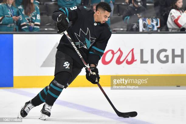 Evander Kane of the San Jose Sharks skates during warmups before the game against the Toronto Maple Leafs at SAP Center on November 15 2018 in San...