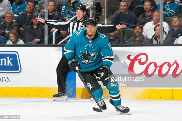 Evander Kane of the San Jose Sharks skates in Game Three of the Western Conference First Round against the Anaheim Ducks during the 2018 NHL Stanley...
