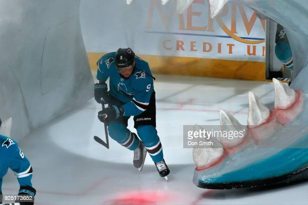 Evander Kane of the San Jose Sharks skates onto the ice making his debut with the Sharks prior to playing against the Edmonton Oilers at SAP Center...