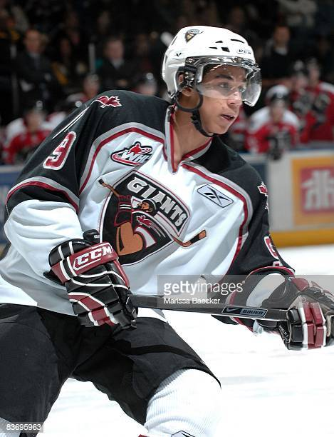 Evander Kane of the Vancouver Giants skates against the Kelowna Rockets on November 13 2008 at Prospera Place in Kelowna Canada