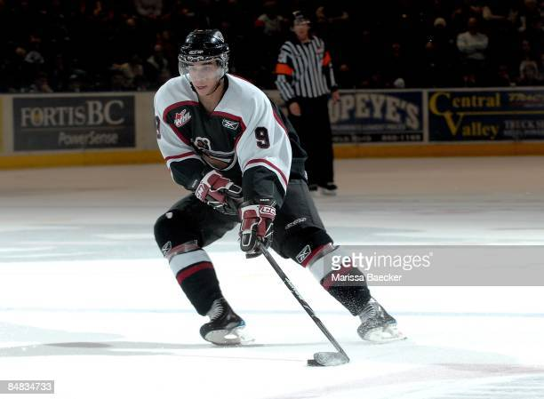 Evander Kane of the Vancouver Giants skates against the Kelowna Rockets on February 13 2009 at Prospera Place in Kelowna Canada