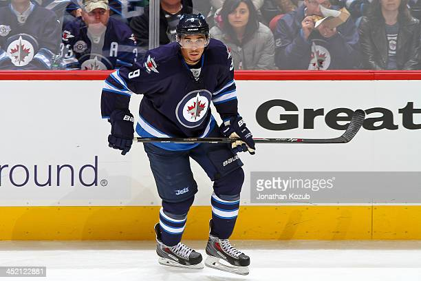 Evander Kane of the Winnipeg Jets keeps an eye on the play during second period action against the Philadelphia Flyers at the MTS Centre on November...