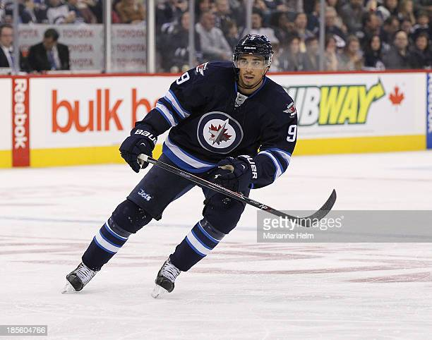 Evander Kane of the Winnipeg Jets skates down the ice during secondperiod action in an NHL game against the New Jersey Devils at the MTS Centre on...