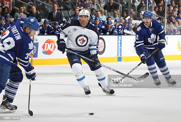 Evander Kane of the Winnipeg Jets skates in a game against the Toronto Maple Leafs on January 5 2012 at the Air Canada Centre in Toronto Canada The...