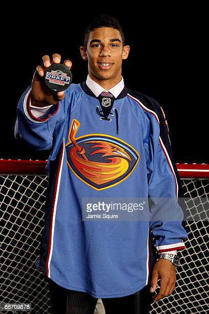 Evander Kane poses for a portrait after being picked overall by the Atlanta Thrashers during the first round of the 2009 NHL Entry Draft at the Bell...