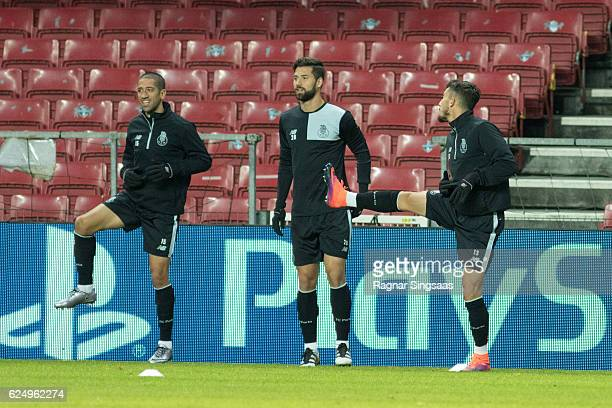 Evandro Felipe and Alex Telles of FC Porto in action during the FC Porto training ahead of the UEFA Champions League match against FC Copenhagen on...