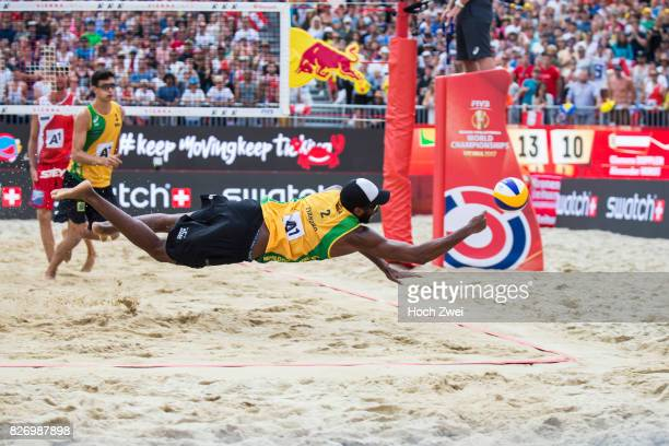 Evandro Goncalves Oliveira Junior of Brazil in action during Day 10 of the FIVB Beach Volleyball World Championships 2017 on August 6 2017 in Vienna...