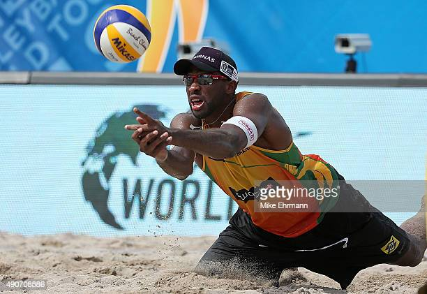 Evandro Gonvlaves of Brazil plays a shot during a match against Pablo Nicolai and Daniele Lupo of Italy on September 30 2015 in Fort Lauderdale...