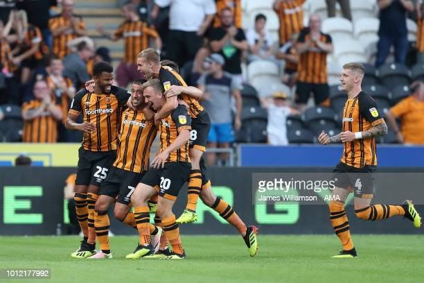 Evandro of Hull City celebrates after scoring a goal to make it 10 during the Sky Bet Championship match between Hull City and Aston Villa at KCOM...