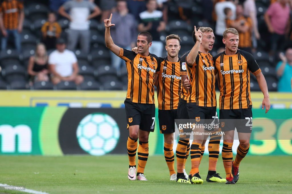 Evandro of Hull City celebrates after scoring a goal to make it 1-0 during the Sky Bet Championship match between Hull City and Aston Villa at KCOM Stadium on August 6, 2018 in Hull, England.
