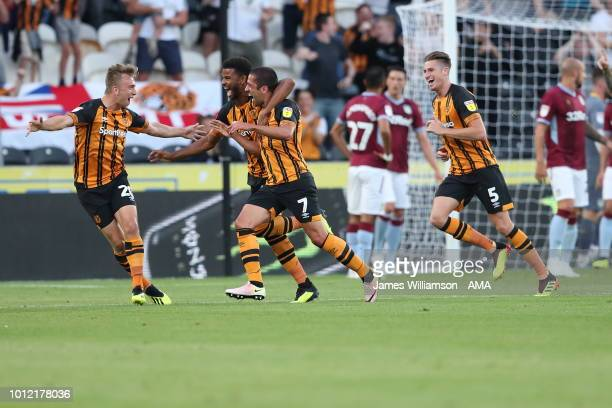 Evandro of Hull City celebrates after scoring a goal to make it 1-0 during the Sky Bet Championship match between Hull City and Aston Villa at KCOM...