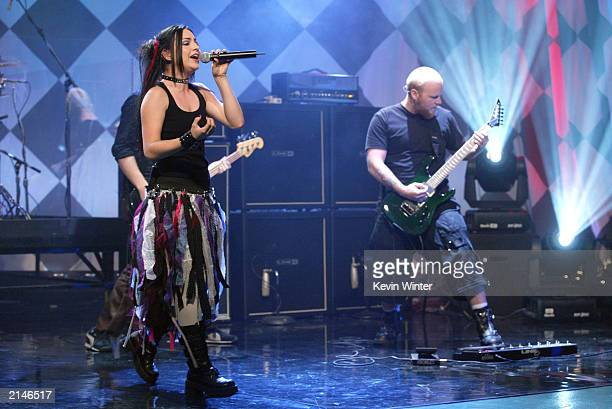 Evanescence with singer Amy Lee performs on The Tonight Show with Jay Leno at the NBC Studios on July 8 2003 in Burbank California