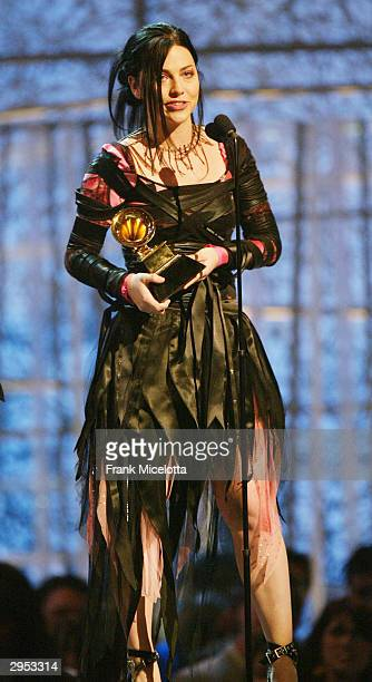 Evanescence's Amy Lee receives the award for Best New Artist at the 46th Annual Grammy Awards held at the Staples Center on February 8 2004 in Los...