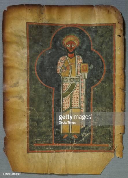 Evangelia IV Etiopice , Ethiopian Manuscript, Four Gospels, 14th century, painting, design, Parchment, Pergament, 32 leaf, Missing band, Height, 27.5...