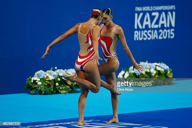 Evangelia Papazoglou and Evangelia Platanioti of Greece compete in the Women's Duet Free Synchronised Swimming Final on day six of the 16th FINA...