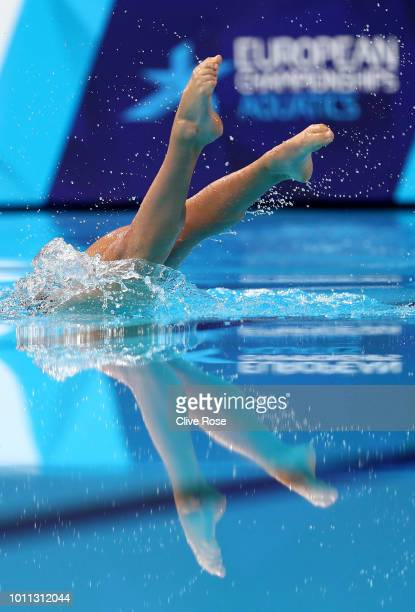 Evangelia Platanioti of Greece competes in the Solo Free Routine Preliminary round during the Synchronised Swimming on Day Four of the European...