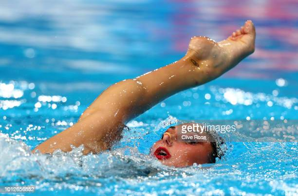 Evangelia Platanioti of Greece competes in the Solo Free Routine Final during synchronised swimming on Day six of the European Championships Glasgow...